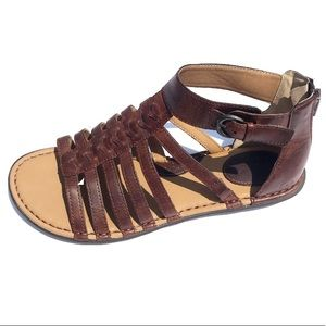 BOC Born Brown Leather Braided Sandals Gladiator